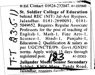 Associate professor on regular basis (St Soldier College of Education)