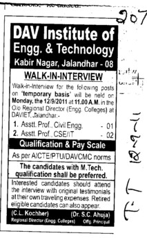 Assistant Professor for BTech Course (DAV Institute of Engineering and Technology DAVIET)