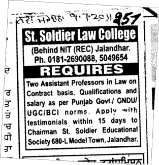 Assistant Professor required (St Soldier Law College)