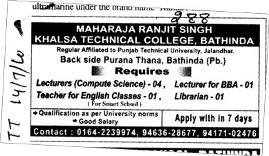 Lecturer in English Hindi Punjabi and History (Maharaja Ranjit Singh Khalsa Technical College)