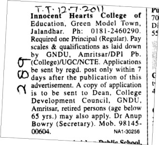 Principal required (Innocent Hearts College of Education)