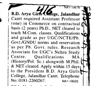 Assistant Professor required (BD Arya Girls College)