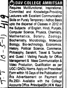 Lecturer on adhoc basis (DAV College for Boys)