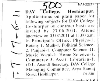 Principal and Lecturer required (DAV College)