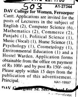 Lecturer in English Hindi Punjabi and History (DAV College for Women)