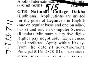 Lecturer in English Hindi Punjabi and History (GTB National College)