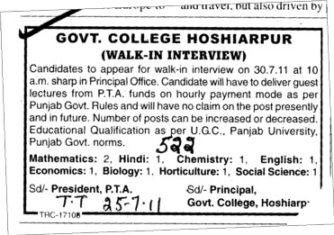 Lecturer for English Hindi and Punjabi etc (Government College)