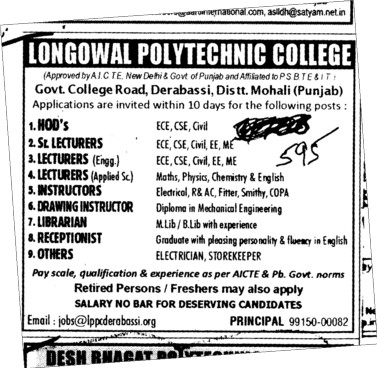 HODs Sr Lecturers and Librarian etc (Longowal College of Pharmacy and Polytechnic)