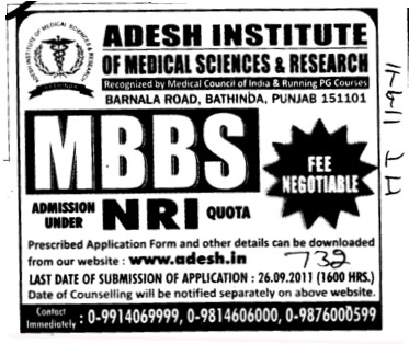 MBBS under NRI quota (Adesh Institute of Medical Sciences and Research)
