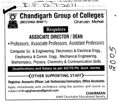 Associate Director and Dean required (Chandigarh Group of Colleges)