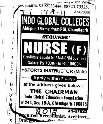 Nurses required (Indo Global Group of Colleges)