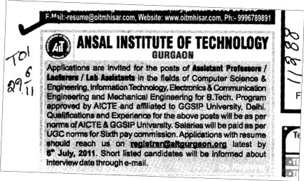 Assistant Professor and Lecturer required (Ansal Institute of Technology)