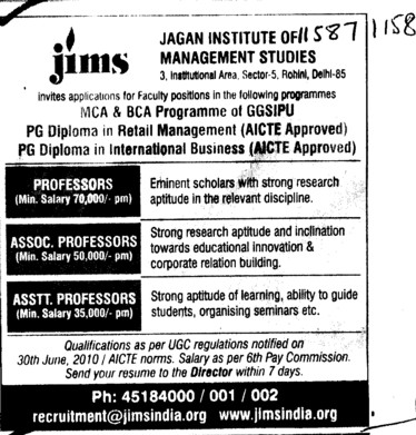 Professors Associate Professors Lecturers and Assistant Professors etc (Jagannath Institute of Management Studies (JIMS))
