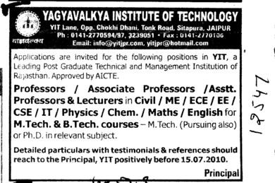 Professors Associate Professors Lecturers and Assistant Professors etc (Yagyavalkya Institute of Technology (YIT) Sitapura)
