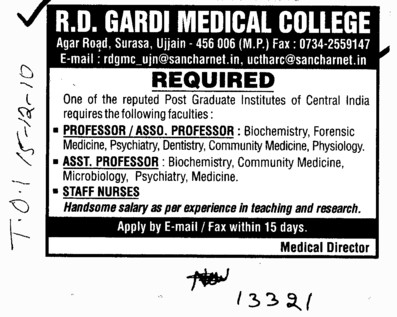 Professors Associate Professors Lecturers and Assistant Professors etc (RD Gardi Medical College)