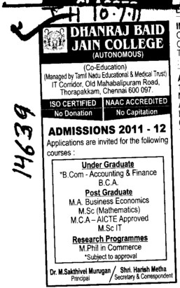 BCom MA and MCA etc (Dhanraj Baid Jain College (DBJC))