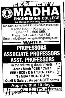 Professors Associate Professors Lecturers and Assistant Professors etc (Madha Engineering College (MEC))