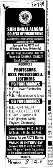 Professors Associate Professors Lecturers and Assistant Professors etc (Shri Andal Alagar College of Engineering (SAACE))