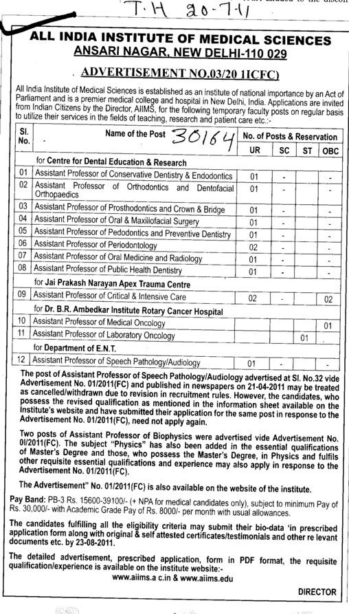 Assistant Professor required (All India Institute of Medical Sciences (AIIMS))