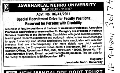Professors Associate Professors Lecturers and Assistant Professors etc (Jawaharlal Nehru University)