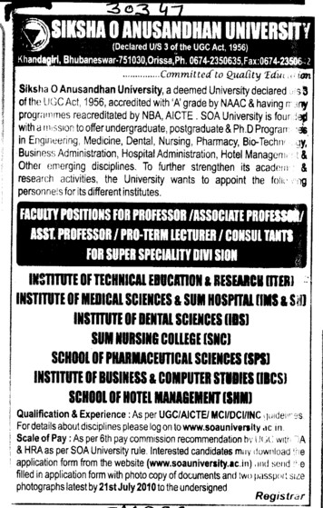Professor and Assistant Professor required (Siksha O Anusandhan University)