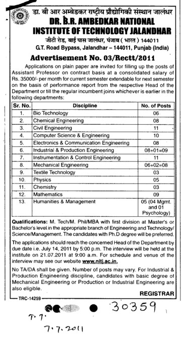Assistant Professor required (Dr BR Ambedkar National Institute of Technology (NIT))
