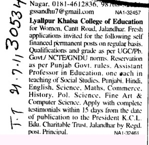 Assistant Professor required (Lyallpur Khalsa College of Education for Women)