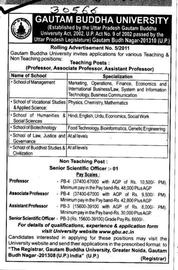 Professor and Assistant Professor required (Gautam Buddha University (GBU))