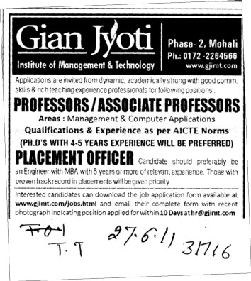 Professors Associate Professors Lecturers and Assistant Professors etc (Gian Jyoti Institute of Management and Technology (GJIMT))