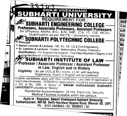 Principal Senior Lecturer and Assistant Professor etc (Swami Vivekanand Subharti University)