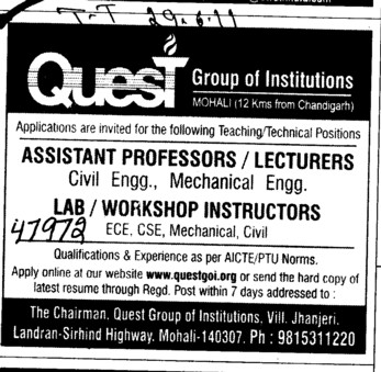 Assistant Professor and Lecturer required (Quest Group of Institutions)