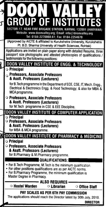 Professor and Assistant Professor required (Doon Valley Group of Institutes)
