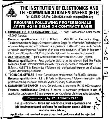 Technical Officer and data entry operators etc (Institute of Electronics and Telecommunication Engineers (IETE Agra))