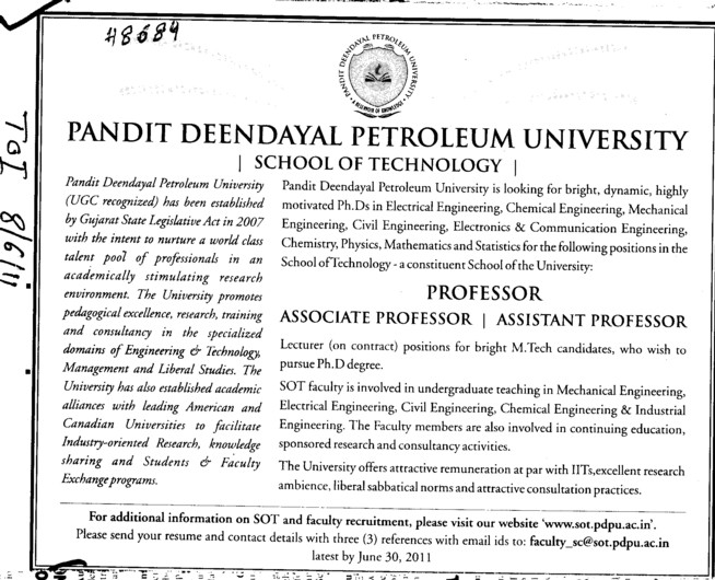 Professor and Assistant Professor required (Swami Devi Dyal Group of Professional Institutes)