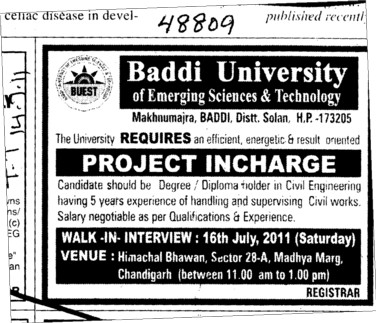 Project Incharge required (Baddi University of Emerging Sciences and Technologies)