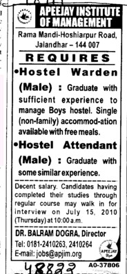 Hostel Warden and Hostel Attendant required (Apeejay Institute of Management)