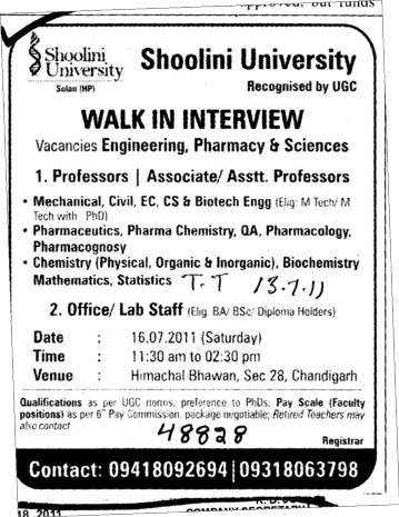 Professor and Assistant Professor required (Shoolini University)