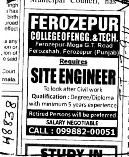 Site Engineer Required (Ferozepur College of Engineering and Technology)