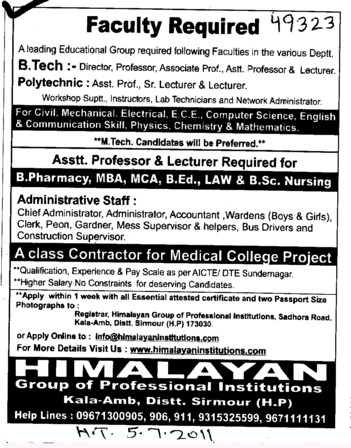 Assistant Professor and Lecturer required (Himalayan Group of Professional Institutions)