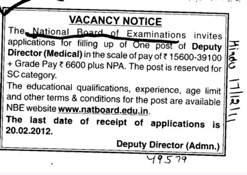 Deputy Director required (National Board of Examinations)