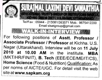 Assistant Professor and Associate Professor required (Surajmal Laxmi Devi Sawarthia)