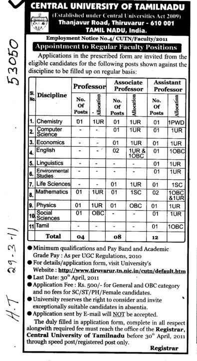 Professor and Assistant Professor required (Central University of Tamil Nadu (CUTN))