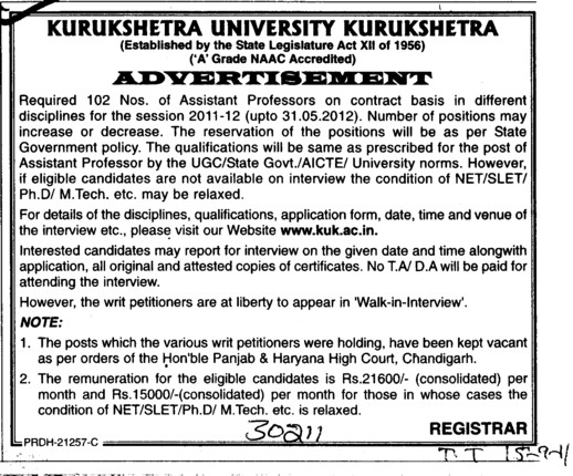 Assistant Professor required (Kurukshetra University)