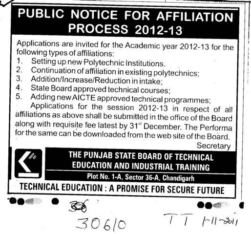 Public Notice for Affiliation Process 2012 2013 (Punjab State Board of Technical Education (PSBTE) and Industrial Training)