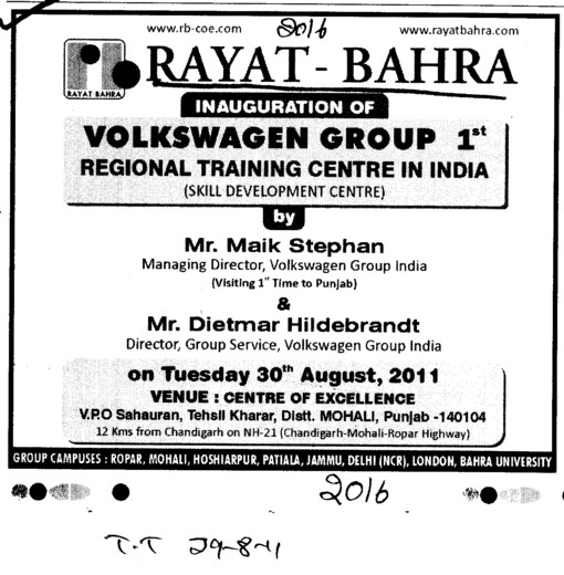 Message of MD Mr Maik Stephan and etc (Rayat and Bahra Group)