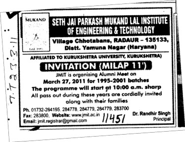 Invitation Milap 2011 (Seth Jai Parkash Mukand Lal Institute of Engineering and Technology (JMIT))