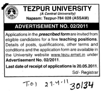 Teaching Positions (Tezpur Central University)