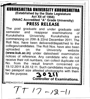 Press Release (Kurukshetra University)