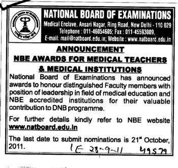 NBE Awards for Medical Teachers (National Board of Examinations)