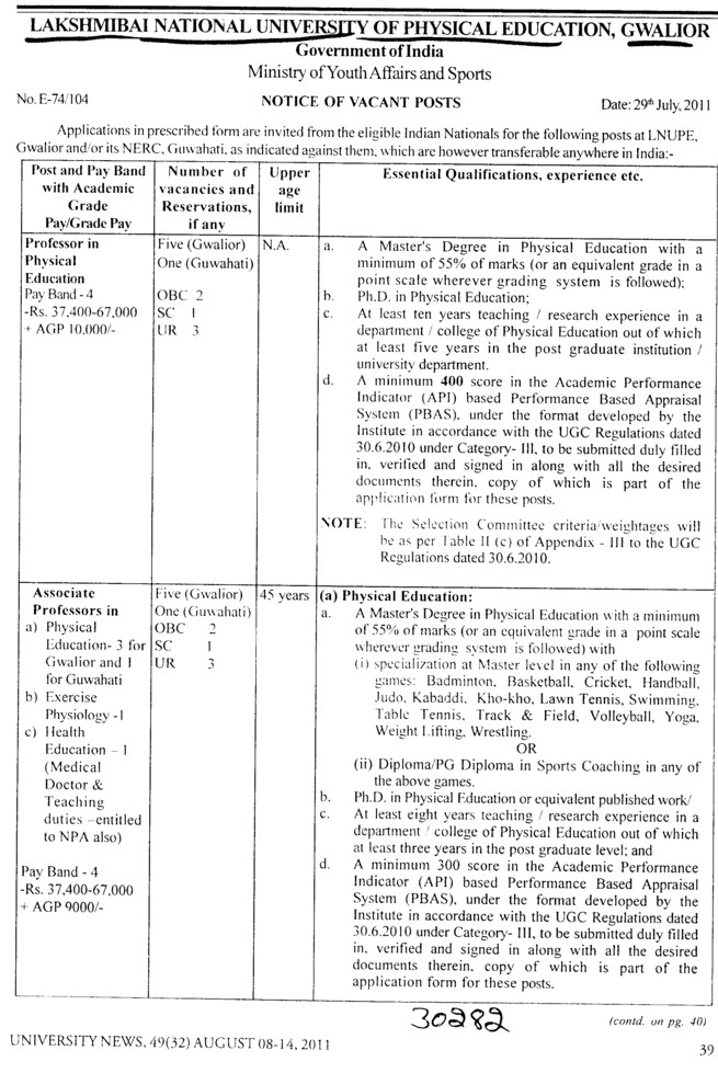 Professor and Assistant Professor required (Lakshmibai National University of Physical Education (LNUPE))